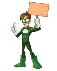 Green Super Boy Hero Thumb Up Holding Board