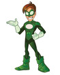 Green Super Boy Hero Presentation Hand on Waist