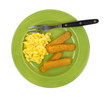 Fish sticks and macaroni and cheese meal with fork