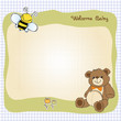 baby shower card with cute teddy bear toy