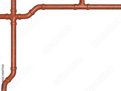 conduit in copper optics on white background