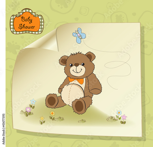 baby shower card with cute teddy bear toy