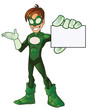 Green Super Boy Hero Presentation Showing Card