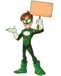 Green Super Boy Hero Presentation Holding Board