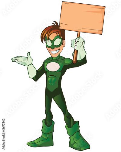 Green Super Boy Hero Presentation Holding Board