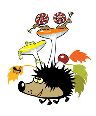 hedgehog with mushrooms and little creature