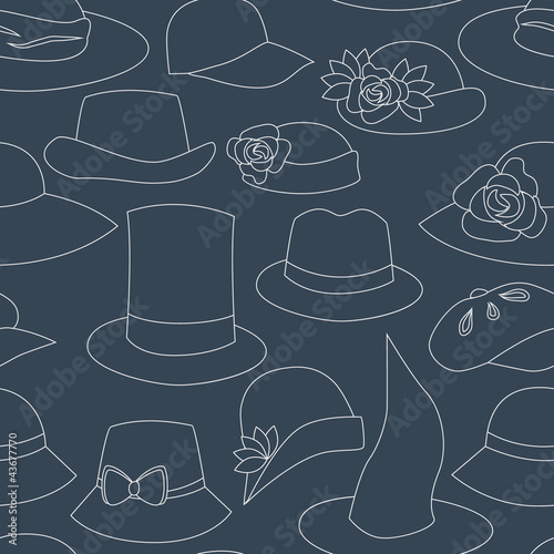 Hats and caps seamless pattern in navy blue, vector - 43677770