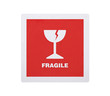 Fragile sticker isolated on white  with clipping path