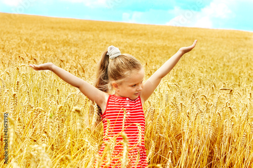 Child in summer wheat field.
