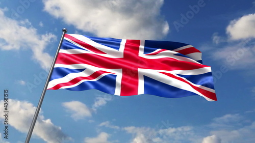 British flag waving against sky background