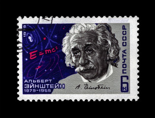 stamp printed in USSR shows scientist Albert Einstein, science