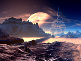 Bridge to Alien Tower City on Distant Planet