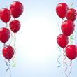 Rote Luftballons mit Kräuselband