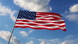 USA flag waving against sky background, 3d animation