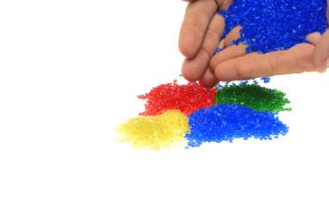 Masterbatch Farbiges Kunststoffgranulat mit Hand