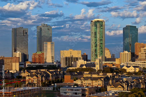 In de dag Texas Cityscape of Fort Worth Texas in early evening light