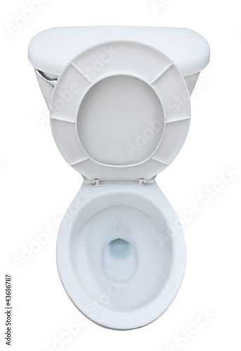 Top view of a clean toilet seat isolated on white