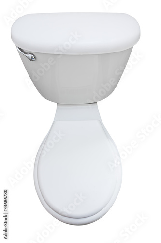 Top view of a closed toilet seat isolated on white
