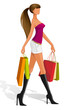 vector illustration of woman with shopping bag