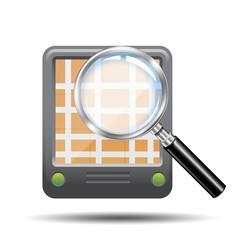 Icono lupa 3D con GPS