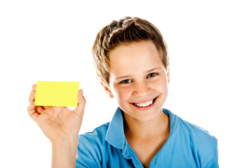 boy with yellow card