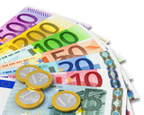 Set of Euro banknotes and coins