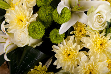 bouquet of chrysanthemums, white rose, Lily
