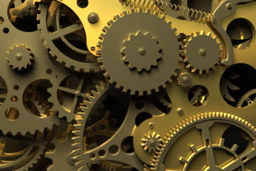 Abstract gold Clockwork. 3d animation
