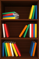 3d wooden shelves background with books