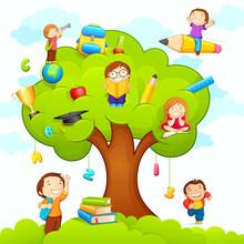 Vektor-Illustration von Kinder studieren zu Bildung Baum