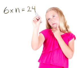 student writing math problem
