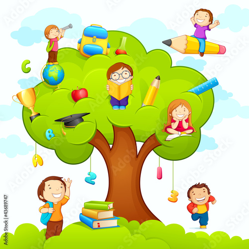 Sticker vector illustration of kids studying on education tree