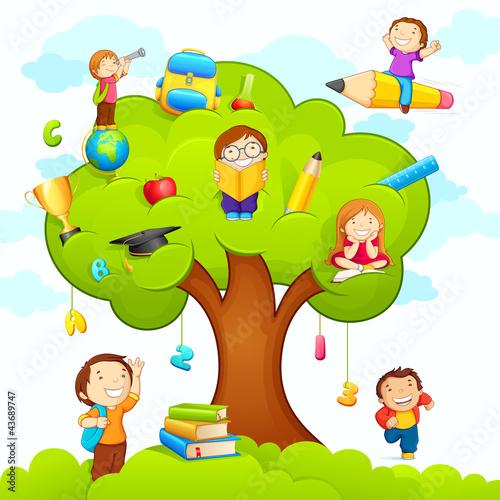 vector illustration of kids studying on education tree