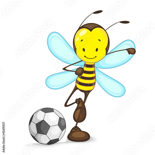 Edtiable vector of bee playing with soccer ball