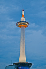 Kyoto tower on the evening