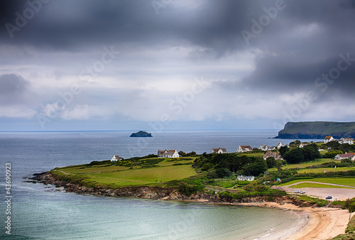 Daymer bay beach landscape in Cornwall UK