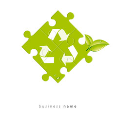 Abstract logo puzzle, recycling, vector