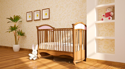 minimal modern Interior of nursery.