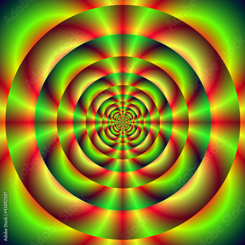 Foto op Aluminium Psychedelic Red Green and Yellow Rings