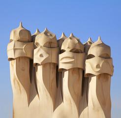 Gaudi Chimneys statues at Casa Mila, Barcelona
