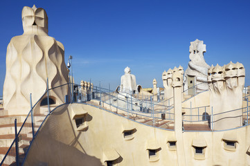 Gaudi Chimneys statues at Casa Mila Roof Top, Barcelona