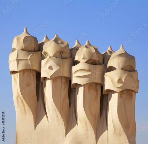 Gaudi Chimneys statues at Casa Mila, Barcelona
