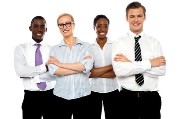Group of business people posing with arms crossed