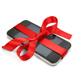 Smartphone mit roter Schleife