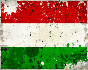 Grunge Hungary flag with stains