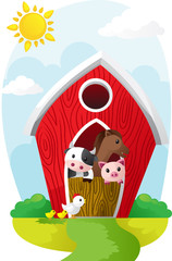 Animals in barn