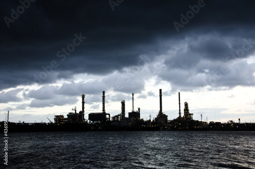 Heavy rain at Oil Refinery
