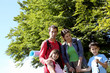 Portrait of happy family on a trekking day