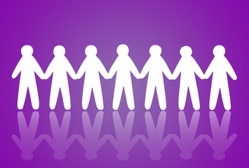 team of paper people on violet background