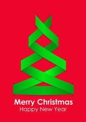 Green Christmas tree on red background.